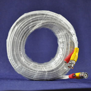 100 Feet Ft Premium Premade Coaxial Siamese Cable White