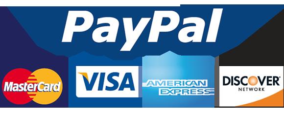Paypal MasterCard VISA AmericanExpress Discover